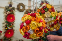 Colorful flowery decorations for sale