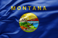 Waving state flag of Montana - United States of America