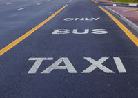 Bus and taxi sign painted on street