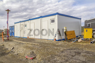 mobile homes at a construction site