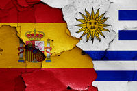 flags of Spain and Uruguay