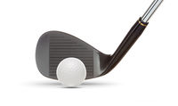 Black Golf Club Wedge Iron and Golf Ball on White Background