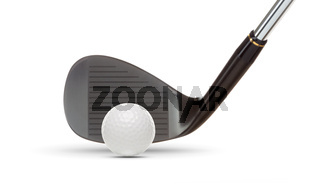 Black Golf Club Wedge Iron and Golf Ball on White Background