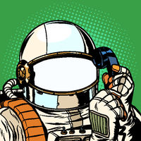 The astronaut is talking on the phone. empty spacesuit template