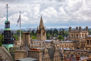 The towers of the Oxford Town Hall and the Christ Church Cathedral.  Oxford University. England