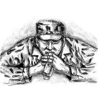 African American Soldier Praying Tattoo