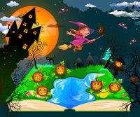 Joyful little witch flies on a broomstick