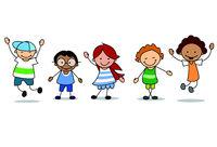 happy kids playing  - children  illustration , boys and girls