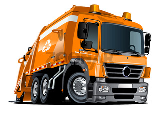Cartoon Garbage Truck isolated on white background