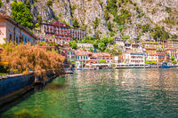 Limone sul Garda turquoise waterfront and lake cliffs view