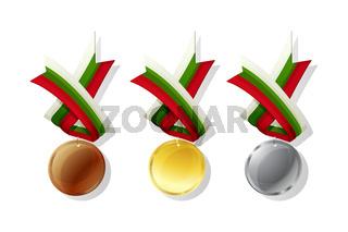 Bulgarian vector medals set