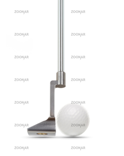 Toe of Golf Club Putter With Golf Ball Isolated on a White Background