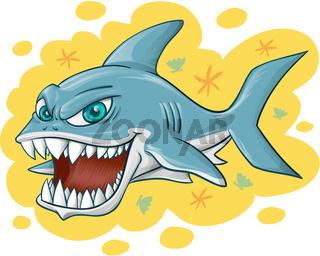 shark cartoon on yellow background
