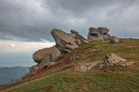 Rocky ledges on Demerdzhi mountain in Crimea