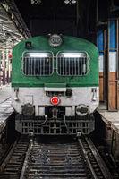 Locomotive at the station (platform)