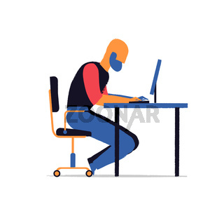 Man work hard at your laptop on the desk