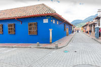 Bogota typical colonial houses Candelaria district panorama