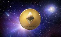 golden ethereum coin over space