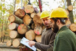 Zwei Holzfäller besprechen Langholz Transport