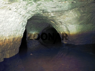 partially flooded underground caves