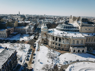 Odessa Opera and Ballet Theater with a bird's eye view