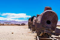 Rusty abandoned old trains in the train cemetry at Uyuni desert