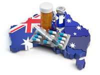 Health, healthcare, medicine and pharmacy in Australia concept. Pills, vials and syringe on the map of Australia isolated on white background.