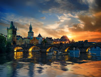 Charles bridge and clouds