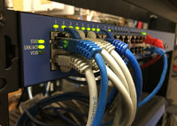 Network Server Cat 5 Cables Plugged into Slots