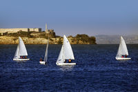 Sailing boats on the background of Alcatras