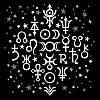 Astrological set №20 (astrological signs and occult mystical symbols), black-and-white celestial pattern background with stars.