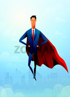Handsome Businessman super leader flying in front of civil city and sunlight