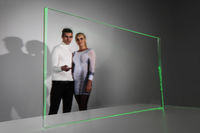 Couple working with futuristic display