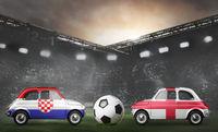 Croatia and England cars on football stadium