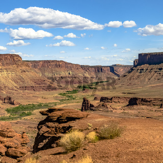 Arresting canyon of Moab Utah with off road trail