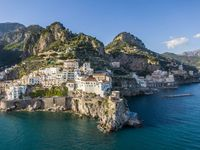Aerial view of Amalfi town and Saracen Tower, Italy