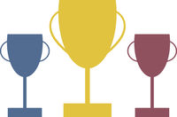 Gold Silver Bronze Trophies Vector