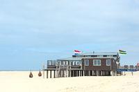 Landscape with beach pavilion