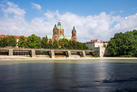 Sankt Lukas church in Munich at the river Isar