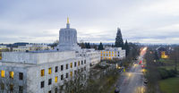 Morning Traffic Passes the Oregon Pioneer atop the Capital Building Salem