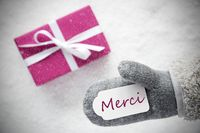 Pink Gift, Glove, Merci Means Thank You, Snowflakes
