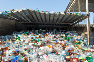 Plastic Bottles in a Factory for Processing of Secondary Raw Materials.