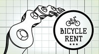 Bicycle rent sign on blueprint background with bicycle chain. Vector