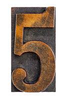 number five in letterpress wood type