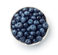 Top view of fresh ripe blueberries in bowl