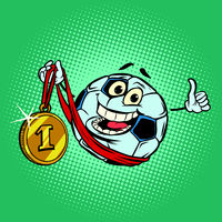 Winner first place gold medal. Character soccer ball football