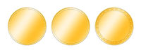 Three different gold coins over white