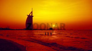 Burj Al Arab Dubai at sunset