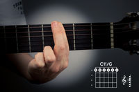 Guitar chord on a dark background. The C eleventh is a six-note chord. C11 tab fingering