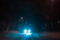 Snow-covered night street